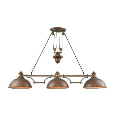 Farmhouse 3-Light Tarnished Brass Pulldown Billiard Light