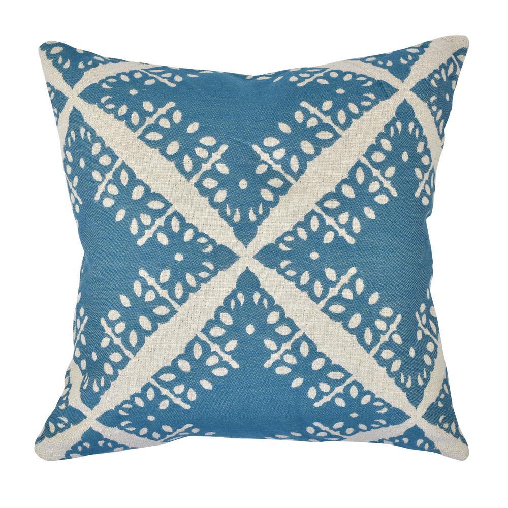 Pastel Blue Toile Jacquard Throw Pillow