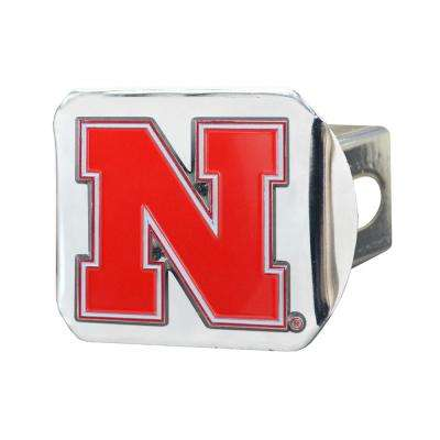 NCAA University of Nebraska Color Emblem on Chrome Hitch Cover