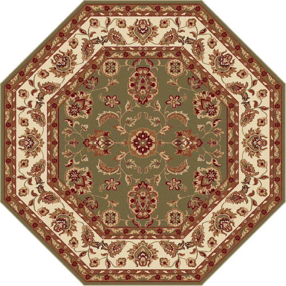 Tayse Rugs Sensation Green 5 ft. 3 in. Octagon Transitional Area Rug