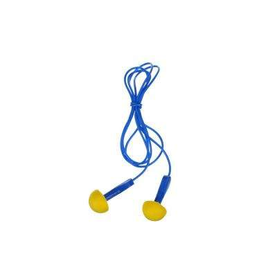 E-A-R EXPRESS Blue Corded Yellow Pod Plugs Earplugs with Metal Detectable, Pillow Pack - NRR 26 dB (Case of 400-Pairs)