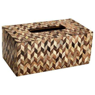 Herringbone Tissue Box Cover in Brown