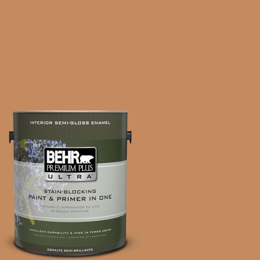 BEHR Premium Plus Ultra 1-gal. #PPU3-13 Glazed Ginger Semi-Gloss Enamel Interior Paint