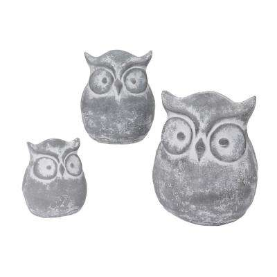 Cement Owl Tabletop Figurines (3-Set)