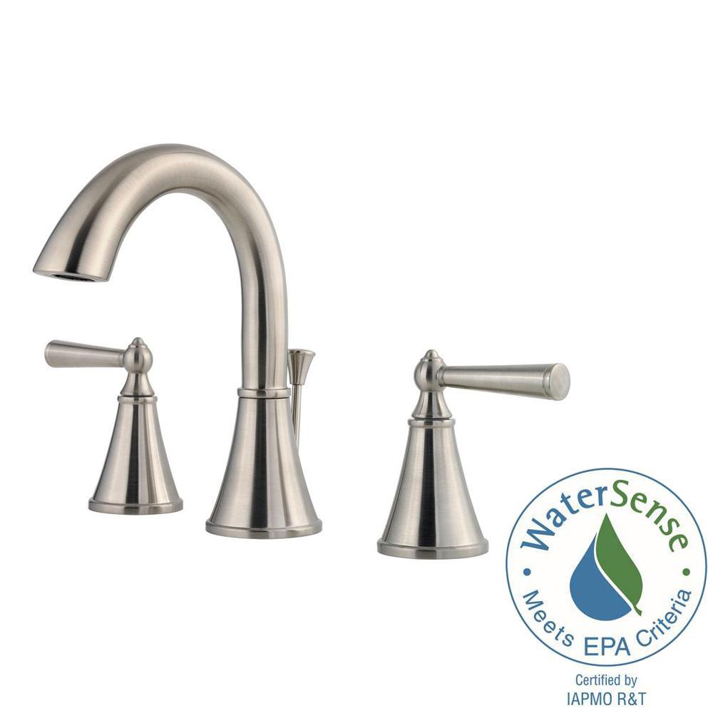 Widespread 2 Handle Bathroom Faucet In Brushed Nickel