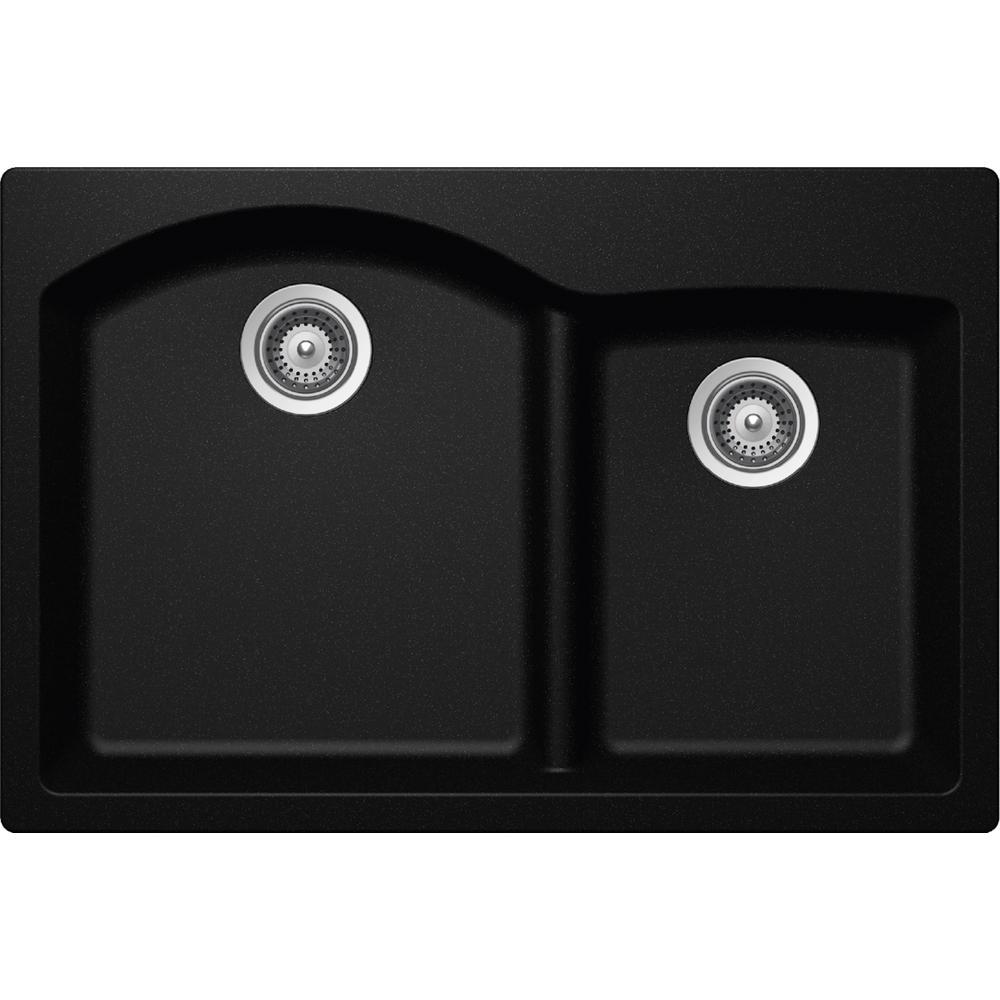 Elkay Elkay by Schock Drop-In/Undermount Quartz Composite 33 inch Double Bowl Kitchen Sink in Black by Elkay