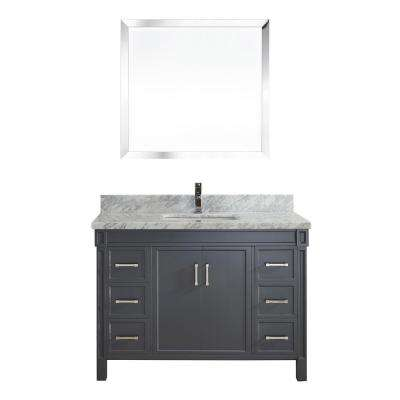 Serrano 48 in. W x 22 in. D Vanity in Pepper Gray with Marble Vanity Top in Gray with White Basin and Mirror