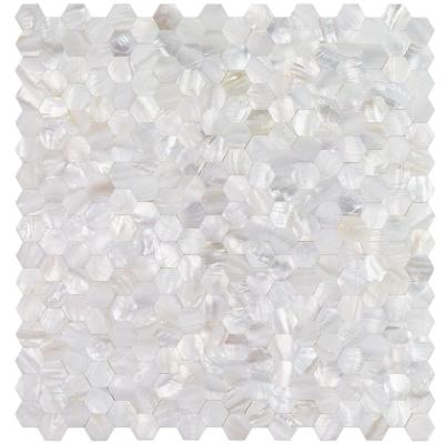 Lokahi White Hexagons 11.81 in. x 11.81 in. x 2 mm Pearl Shell Mosaic Tile