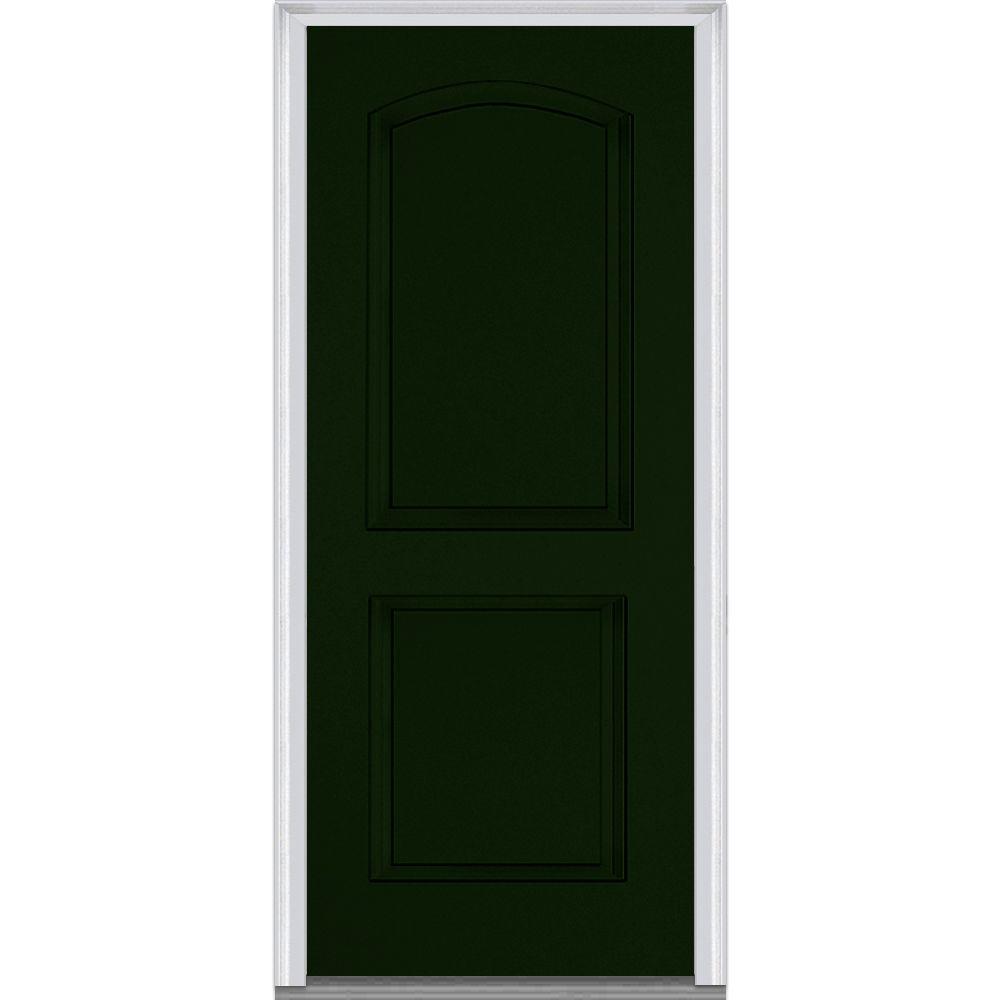 MMI Door 36 in. x 80 in. Left-Hand Inswing 2-Panel Archtop Classic Painted Fiberglass Smooth Prehung Front Door
