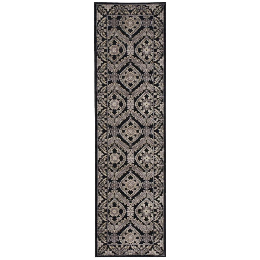 nourison graphic illusions black 2 ft 3 in x 8 ft rug runner 221858 the home depot. Black Bedroom Furniture Sets. Home Design Ideas