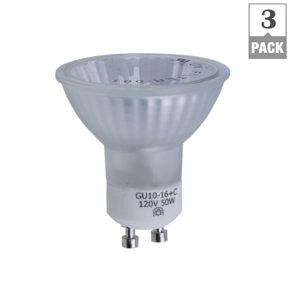 hampton bay 50 watt gu10 halogen partial reflector light bulb 3 pack ee750fc h the home depot. Black Bedroom Furniture Sets. Home Design Ideas
