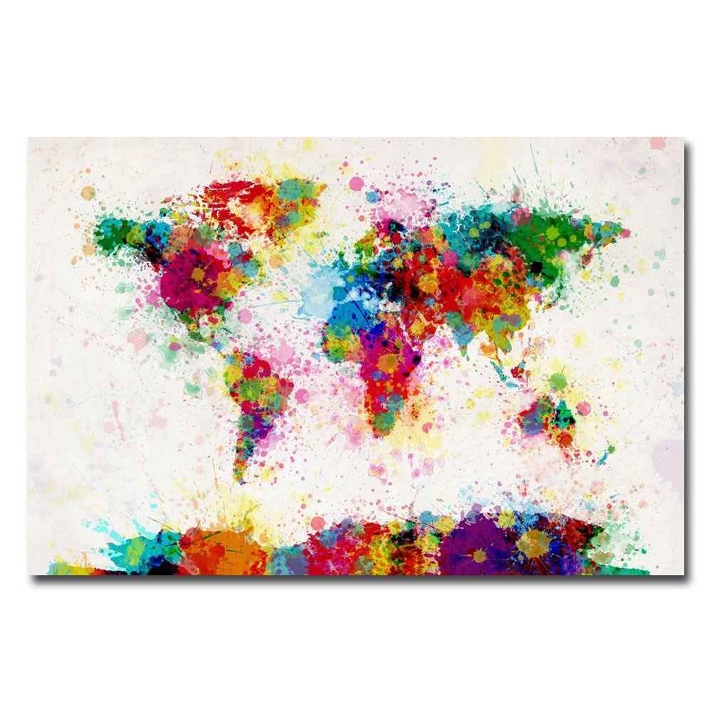 16 in. x 24 in. Paint Splashes World Map Canvas Art-MT0005-C1624GG ...