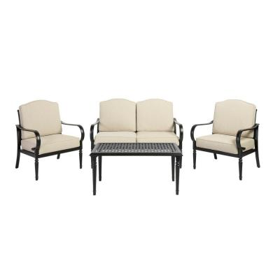 Laurel Oaks 4-Piece Brown Steel Outdoor Patio Conversation Seating Set with Standard Putty Tan Cushions