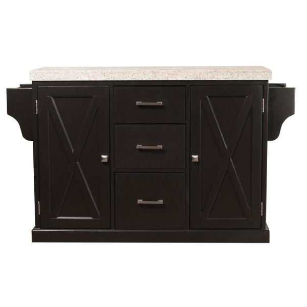 Brigham Black Kitchen Island with Granite Top