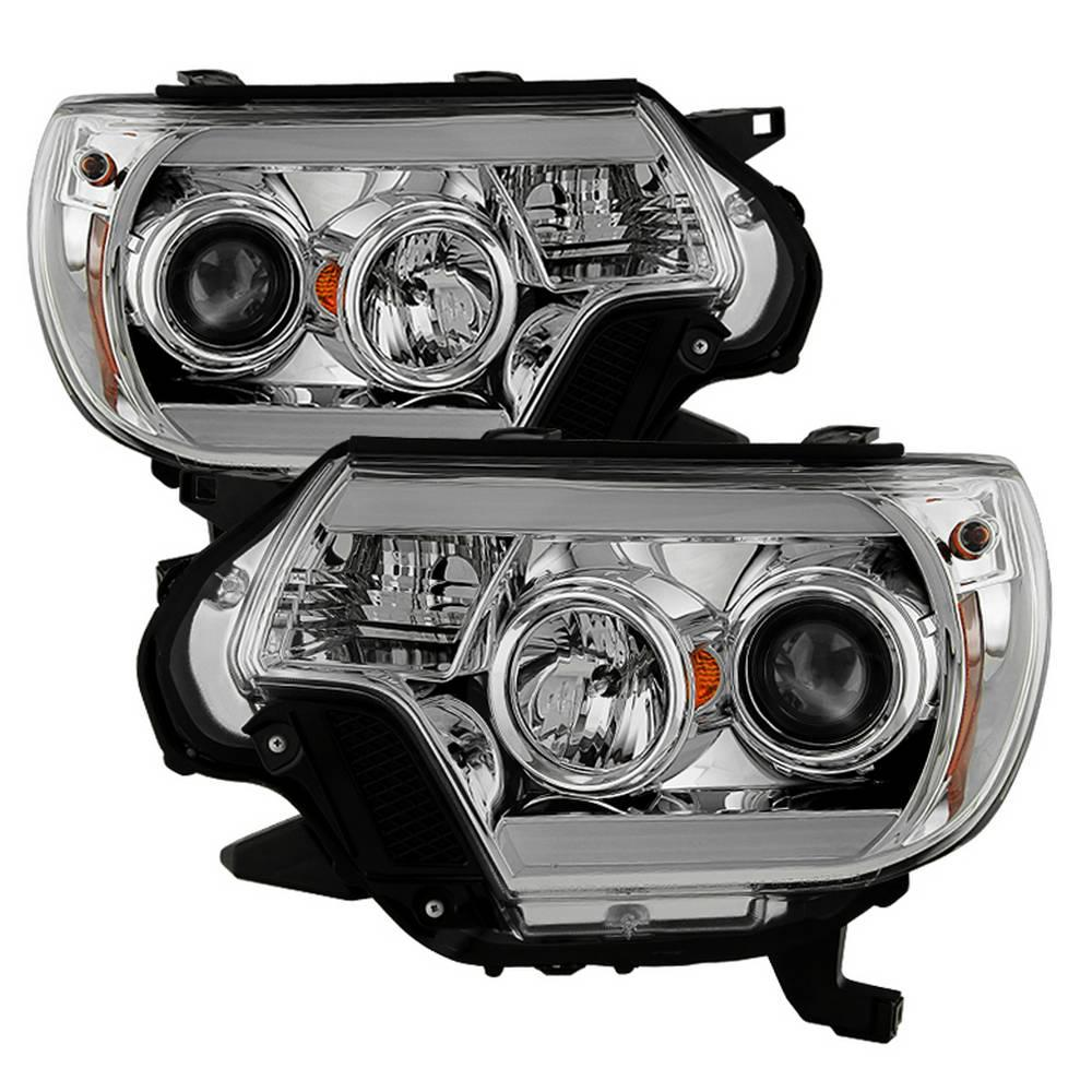FOR 12-15 TOYOTA TACOMA PAIR LED DRL PROJECTOR HEADLIGHT//LAMP BLACK//AMBER 13 14