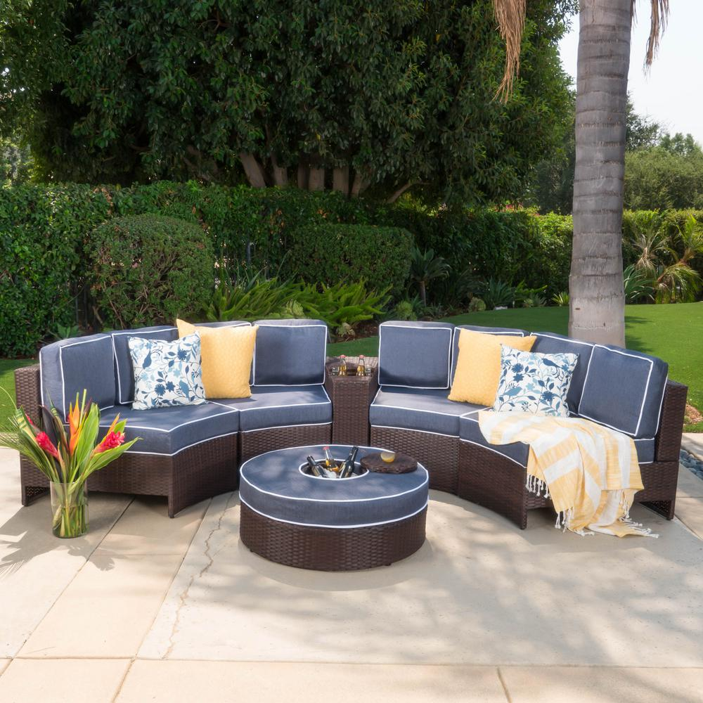 Noble House Brown 6-Piece Wicker Outdoor Sectional and Ottoman Set with  Navy Blue Cushions