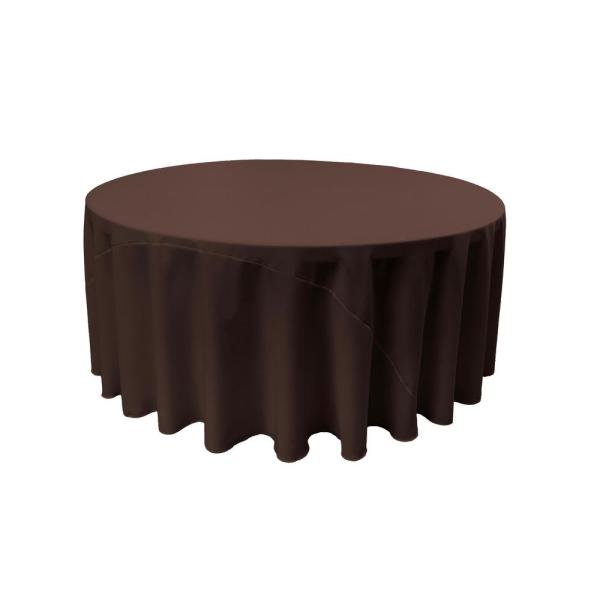 LA Linen 120 in. Brown Polyester Poplin Round Tablecloth TCpop120R_BrownP22