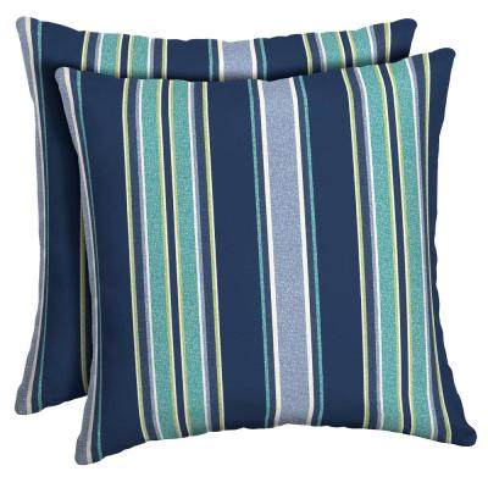 16 x 16 Sapphire Aurora Stripe Square Outdoor Throw Pillow (2-Pack)
