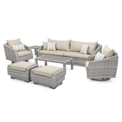Cannes 8-Piece Motion Wicker Patio Deep Seating Conversation Set with Slate Grey Cushions