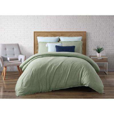 Chambray Loft Green Queen Duvet Set