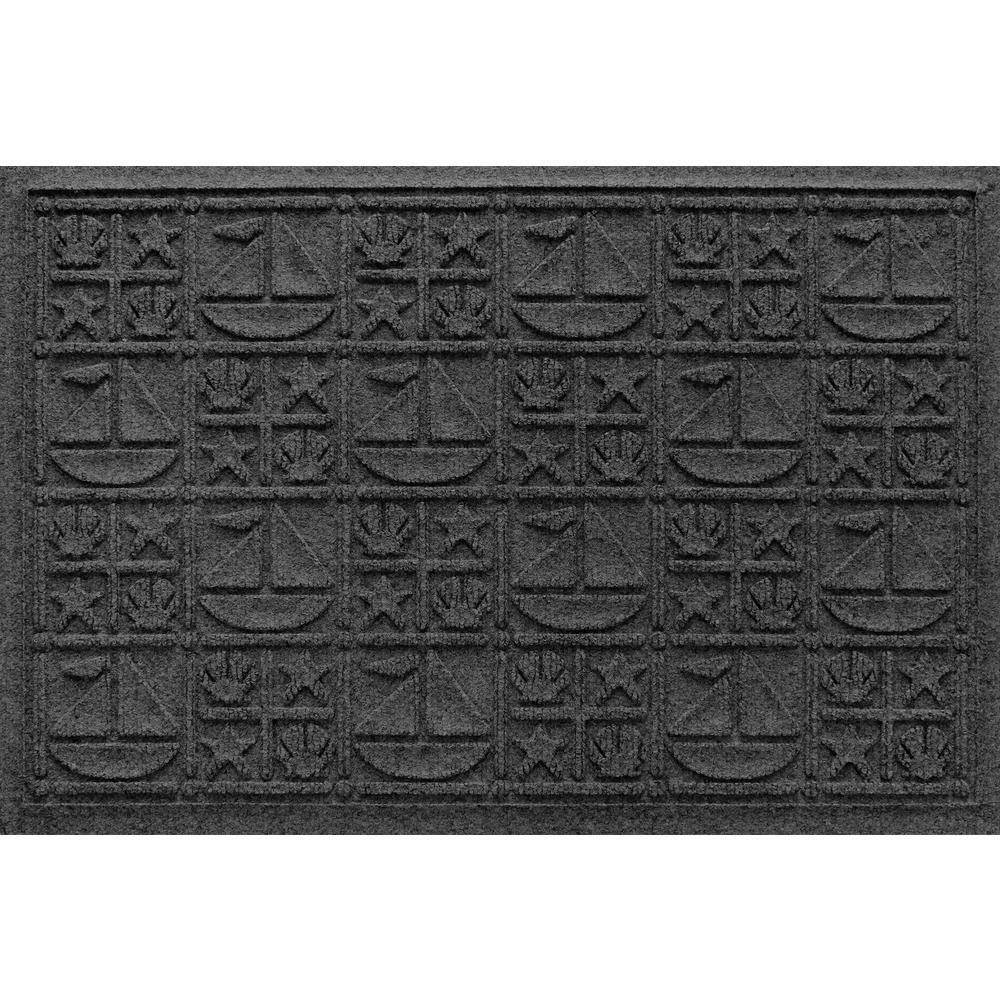 Aqua Shield Charcoal 24 in. x 36 in. Nautical Polypropylene Door Mat