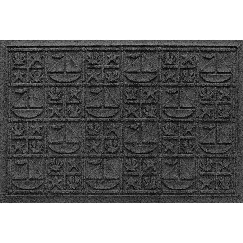 Charcoal 24 in. x 36 in. Nautical Polypropylene Door Mat