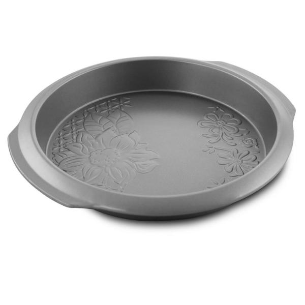 Country Kitchen 9 in. Round Silver Embossed Carbon Steel Cake Pan
