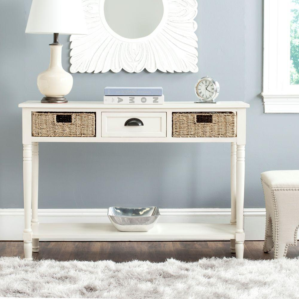 Safavieh Winifred White Storage Console TableAMH5730B The Home Depot