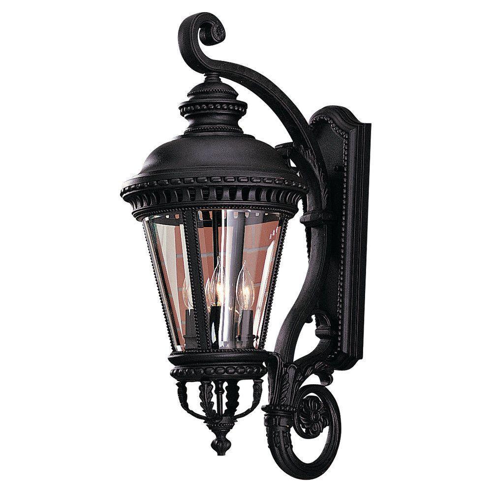 Castle 4-Light Black Outdoor 32 in. Wall Lantern Sconce