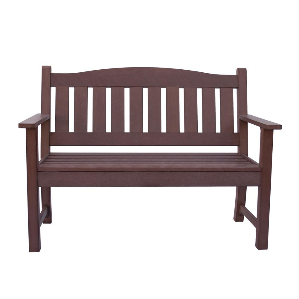 Shine company huntington recycled plastic outdoor bench chateau brown
