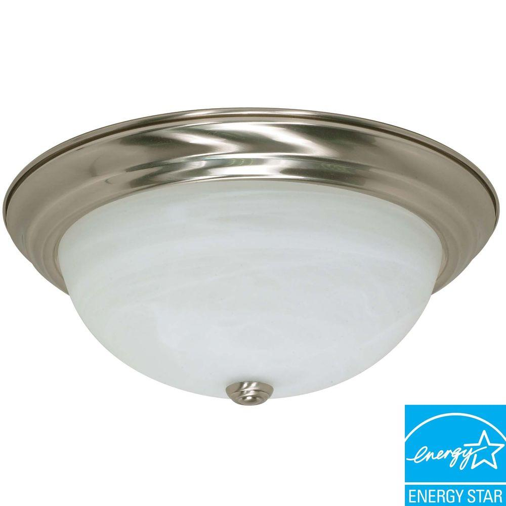 Green Matters 3-Light Brushed Nickel Dome Flushmount