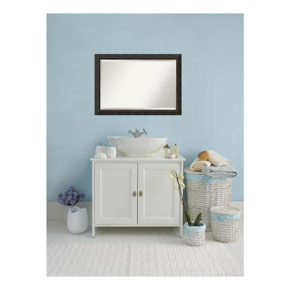 Signore 41 in. W x 29 in. H Framed Rectangular Beveled Edge Bathroom Vanity Mirror in Bronze