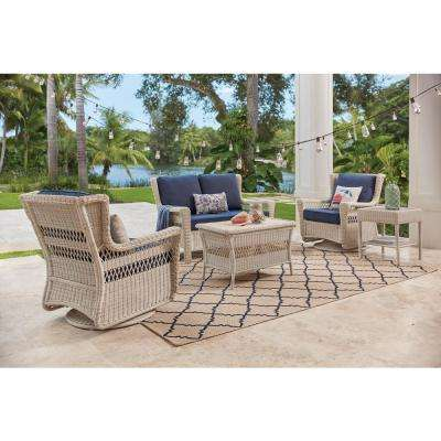 Park Meadows Off-White 5-Piece Wicker Outdoor Seating Set with Midnight Cushion
