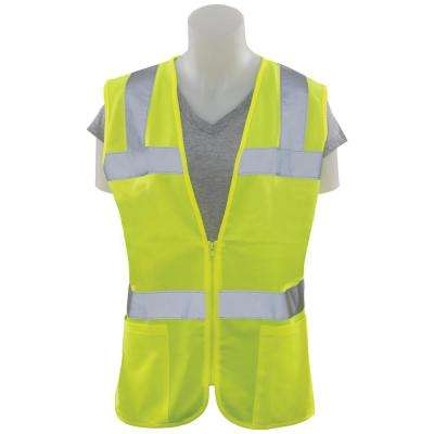 S720 L Class 2 Women's Fitted Poly Tricot Hi-Viz Lime Vest