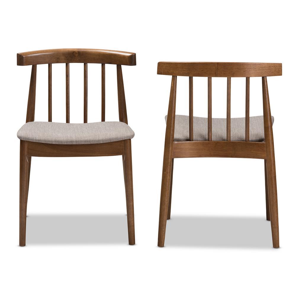 Wyatt Beige and Walnut Brown Fabric Dining Chair (Set of 2)