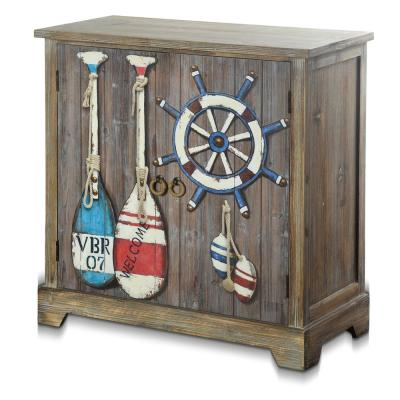 Key West Gray Driftwood, Painted Coastal Print Accent Storage Cabinet