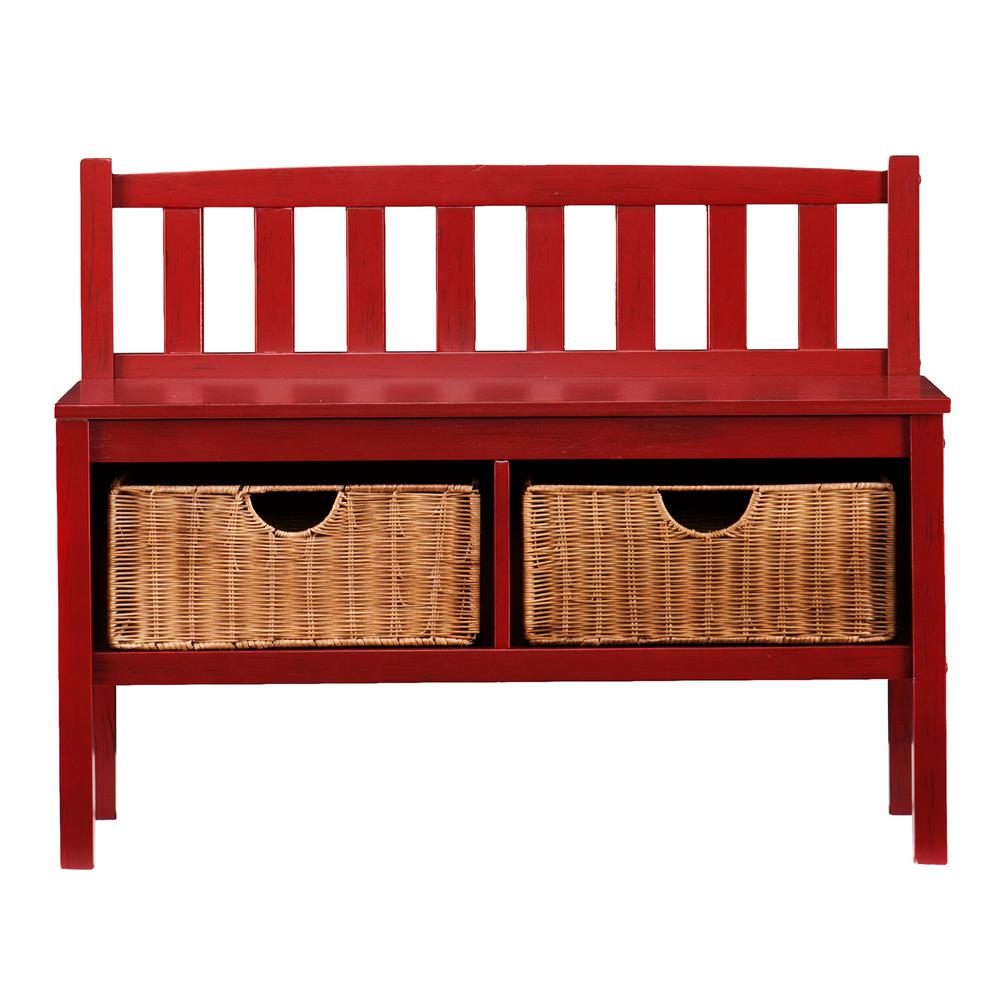 Southern Enterprises Hubert Red Storage Bench, Red Painte...
