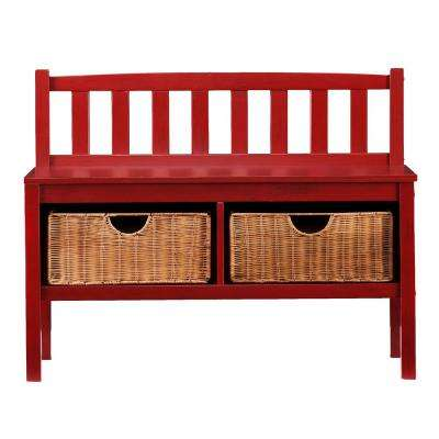 Hubert Red Storage  Bench