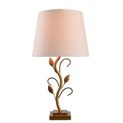 Gold table lamp with cream shade