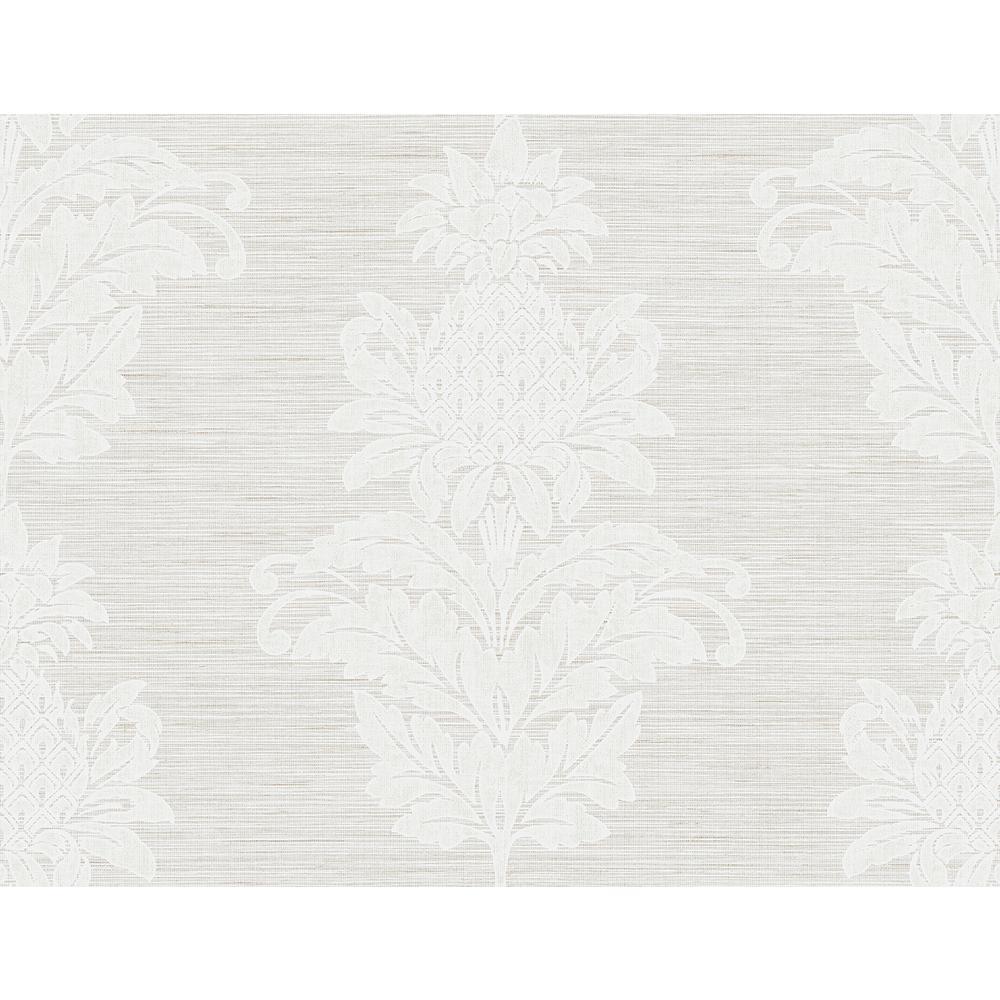 Pineapple Grove Grey Damask Wallpaper Sample