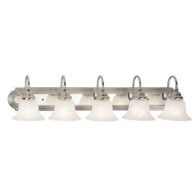 5-Light Brushed Nickel and Chrome Bath Light with White Alabaster Glass Shade