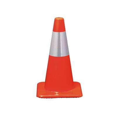 18 in. Orange Reflective Traffic Safety Cone (Case of 10)