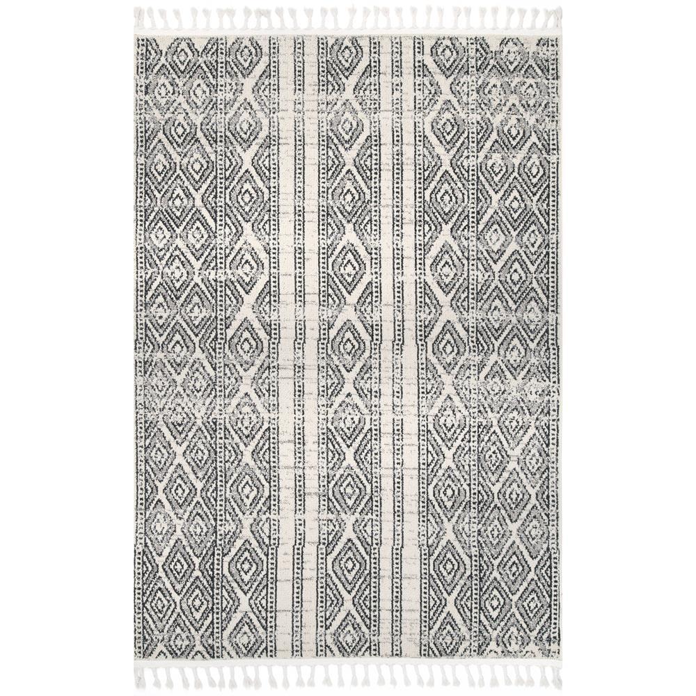 Chenoa Striped Tribal Tassel Ivory 3 ft. x 8 ft. Runner