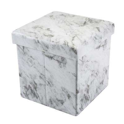 Marble Print with 4-Buttons on Top Single Folding Faux Leather Ottoman