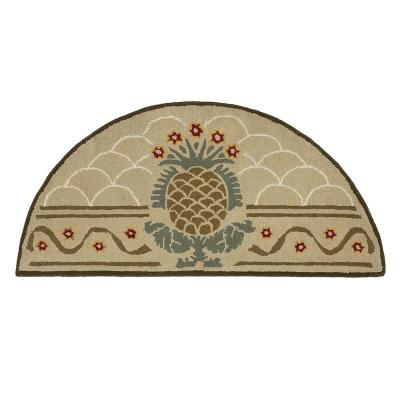 Hospitality Half Round Hearth Rug with Pineapple Design, 56 Inch Long, Beige