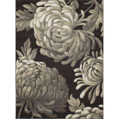 New Casa Flowers Brown 3 ft. x 4 ft. Area Rug