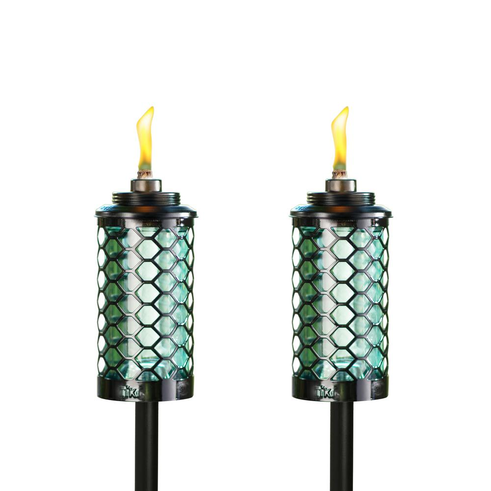 TIKI 65 in. Honeycomb Glass Torch Blue (2-Pack)