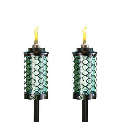 65 in. Honeycomb Glass Torch Blue (2-Pack)