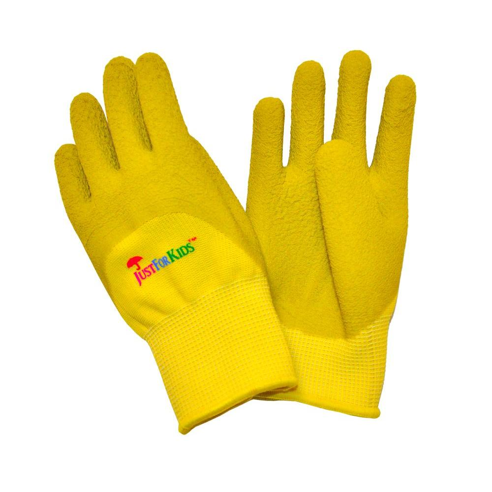 G & F Products JustForKids Premium Yellow Green MicroFoam Texture Coating Kids All Purpose Gloves