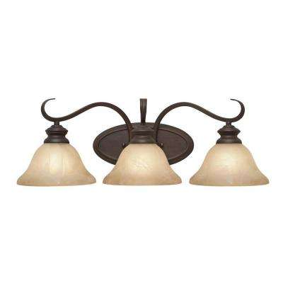 Lancaster Collection 3-Light Rubbed Bronze Bath Vanity Light